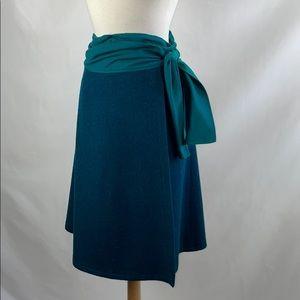 Kenzo Vintage Teal Wool Wrap Skirt